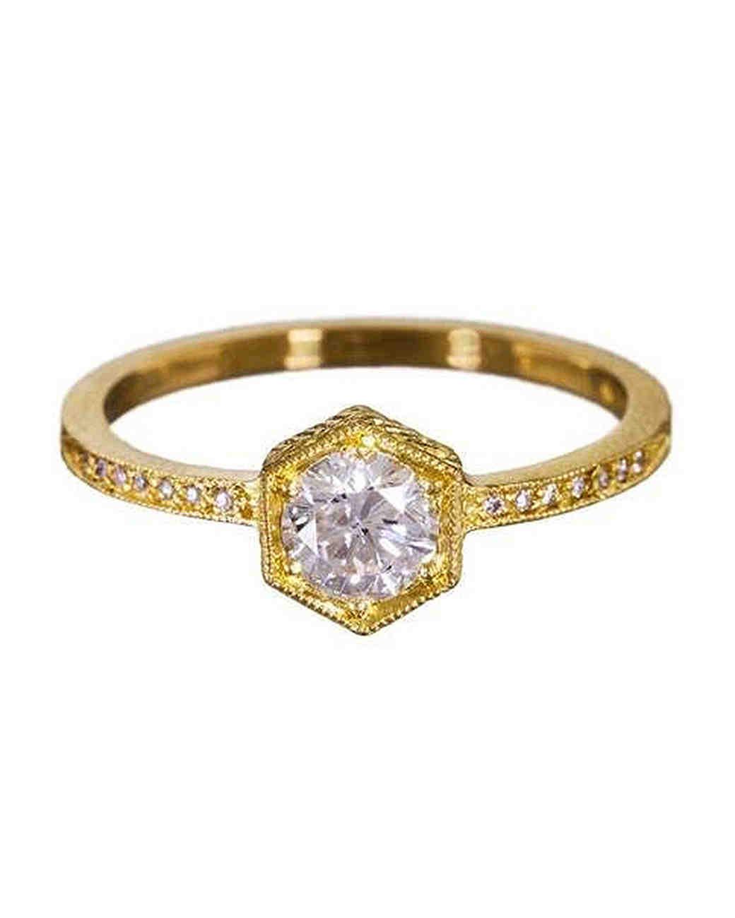 Cathy Waterman Yellow Gold and Diamond Hexagonal Engagement Ring