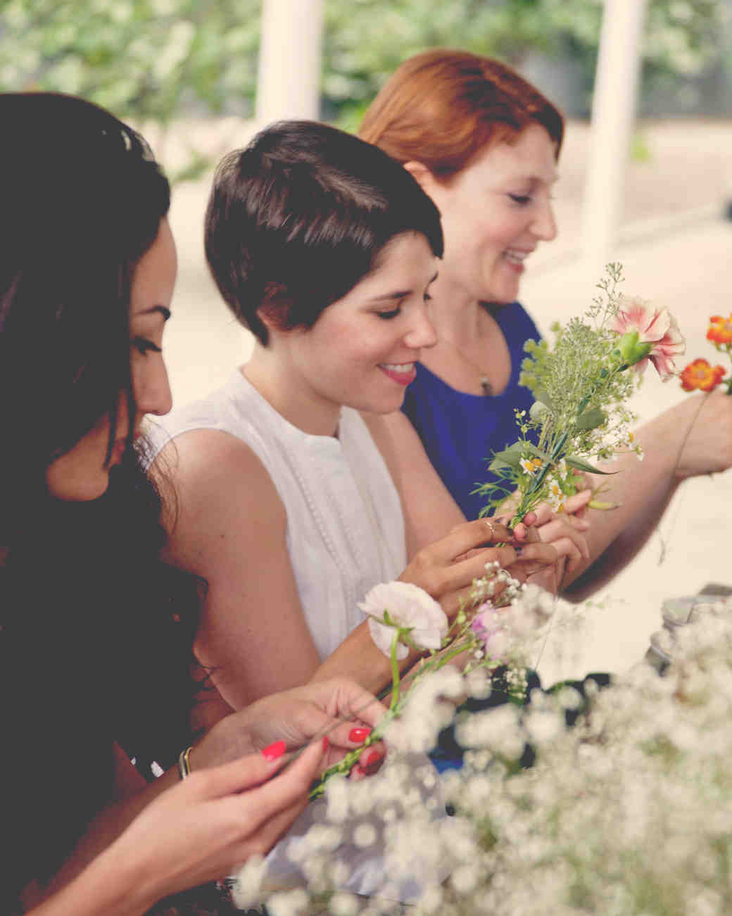 Women Crafting with Flowers