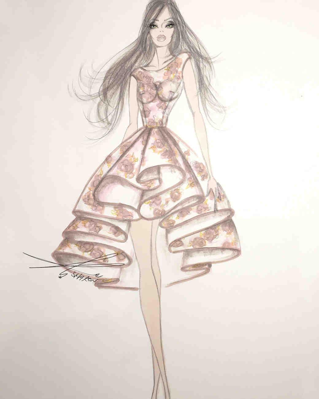 galia lahav fall 2017 exclusive wedding dress sketch