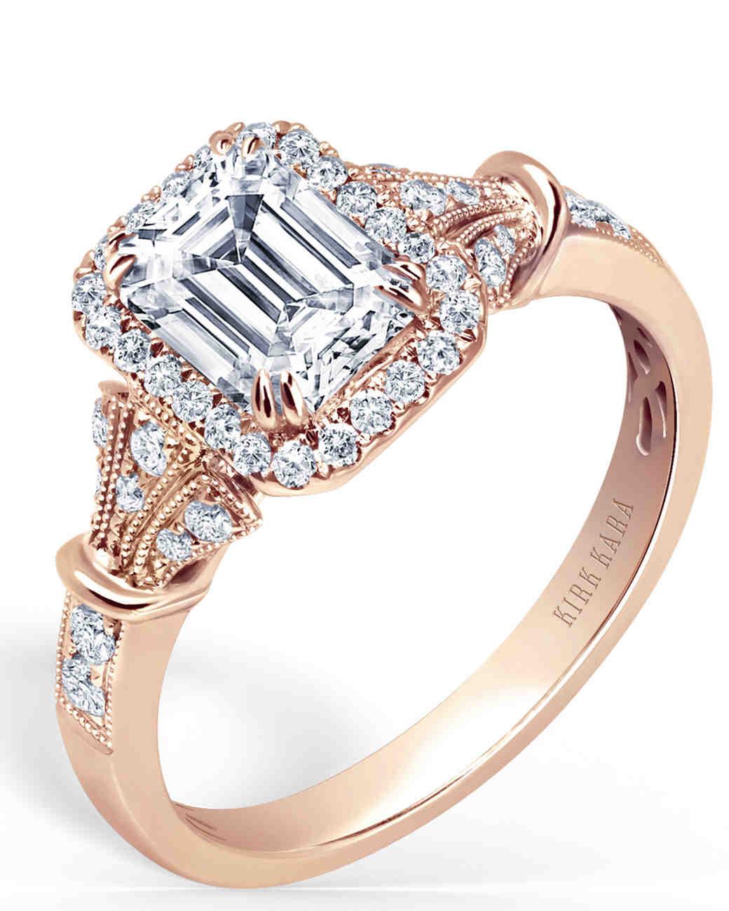 "Kirk Kara ""Lori"" handcrafted emerald-cut engagement ring in rose gold"
