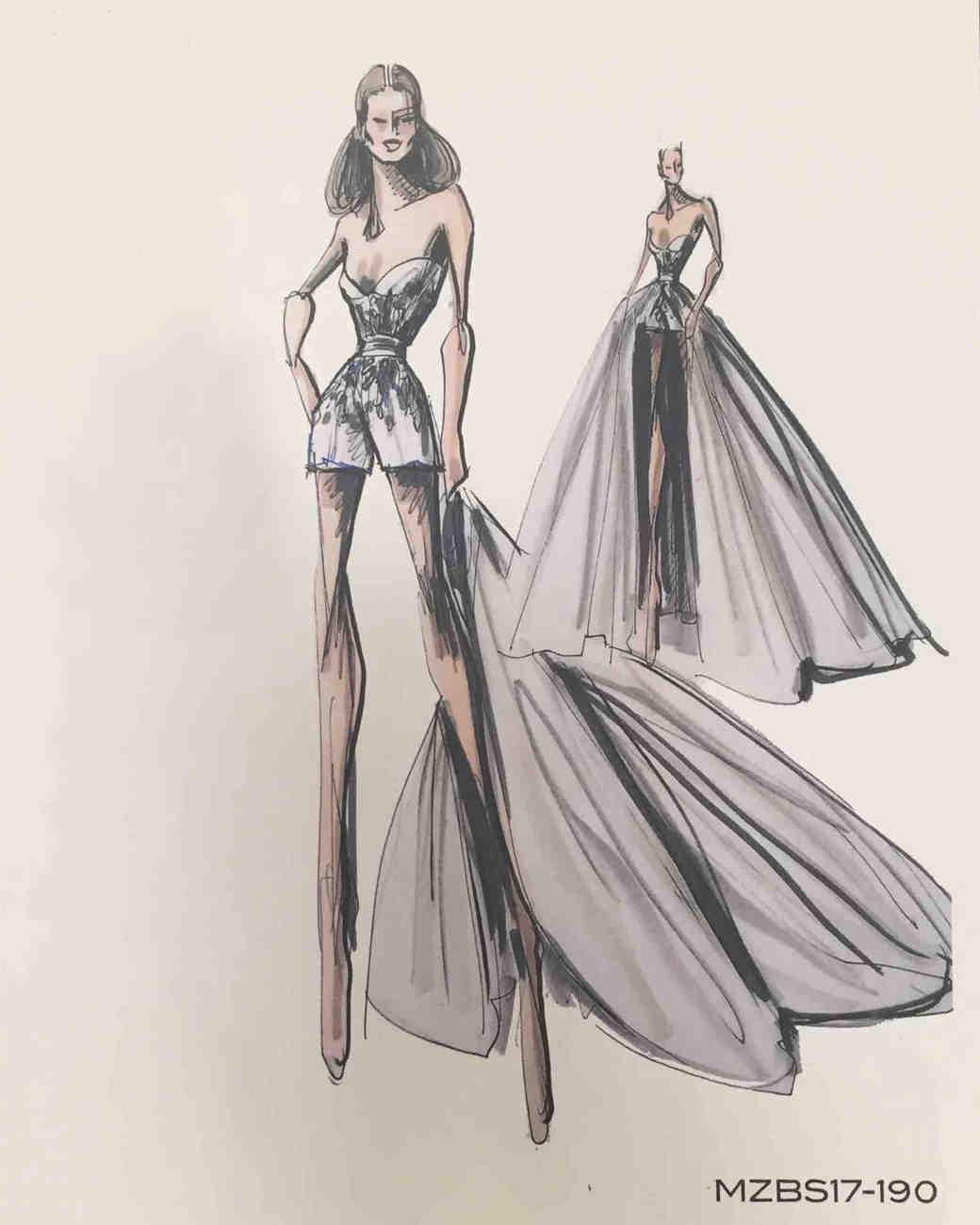 Mark Zunino Fall 2017 Exclusive Wedding Dress Sketch