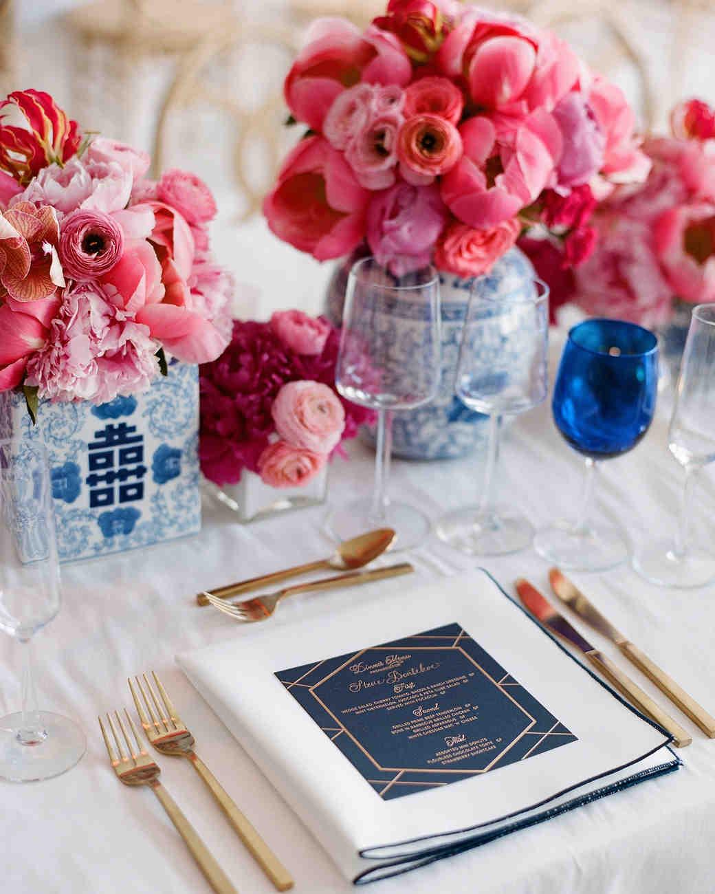 Navy-and-Gold Geometric Wedding Menu