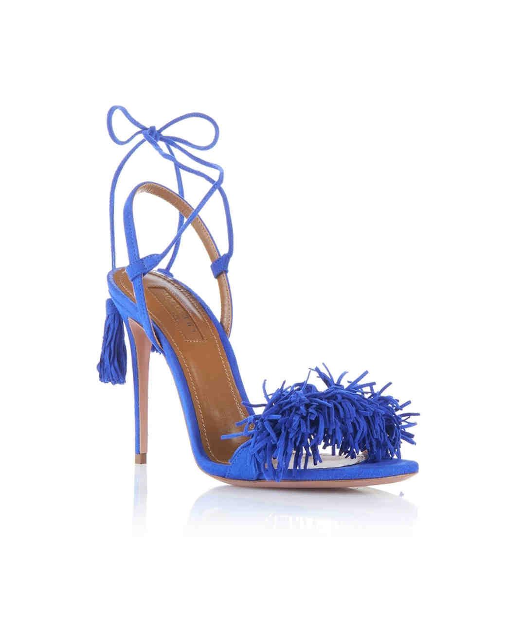 Aquazzura Royal Blue Evening Shoes with fringe