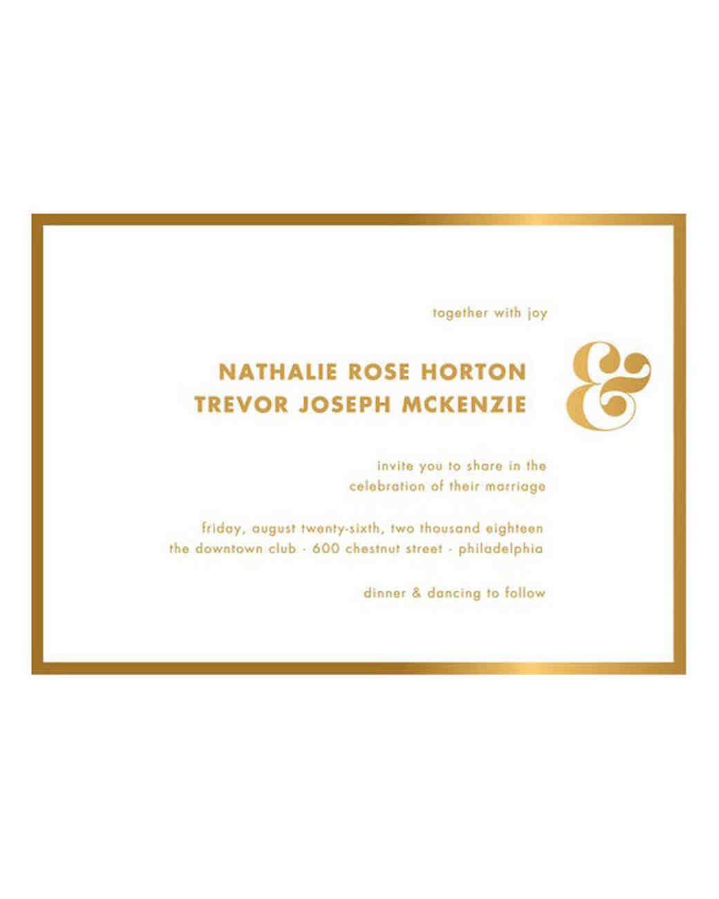 gold foil-stamped save the date