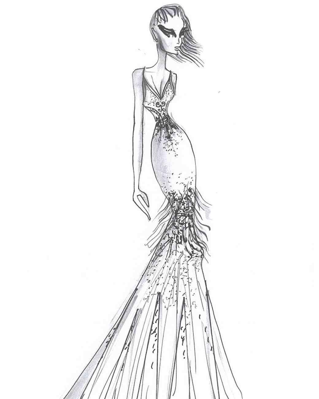 Yaniv Persy Fall 2017 Exclusive Wedding Dress Sketch