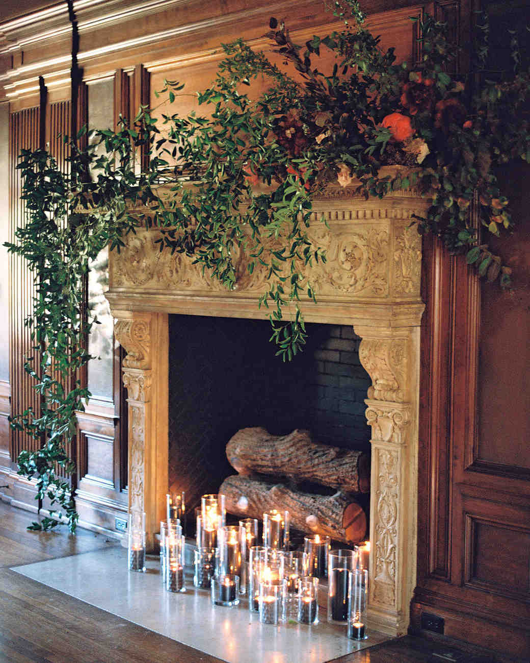 yolanda cedric wedding fireplace