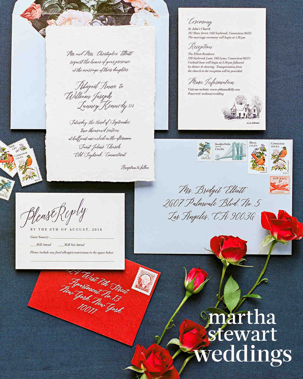 abby elliott bill kennedy wedding stationery