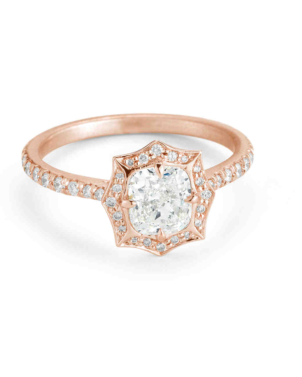 "Forevermark by Jade Trau ""Mabel"" Ring rose gold setting and cushion-cut diamond"