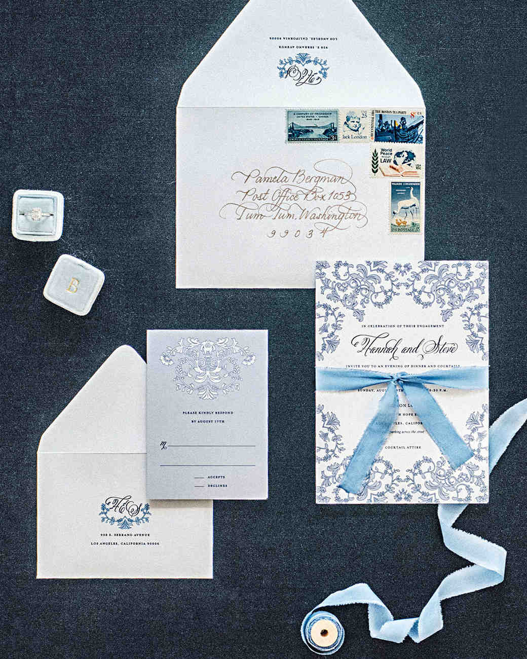 hannah steve wedding california stationery suite
