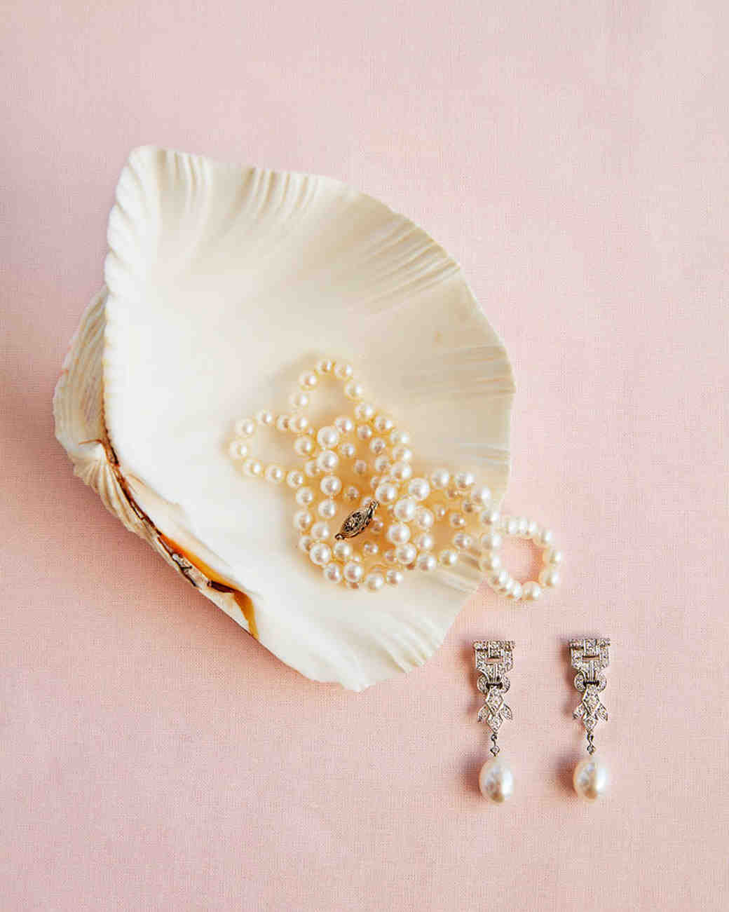 bridal jewelry necklace earrings seashell