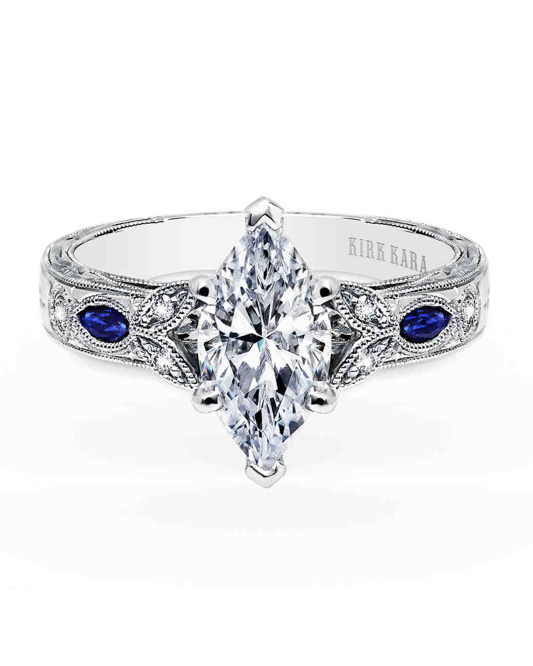 Kirk Kara Marquise-Cut Engagement Ring with Sapphires