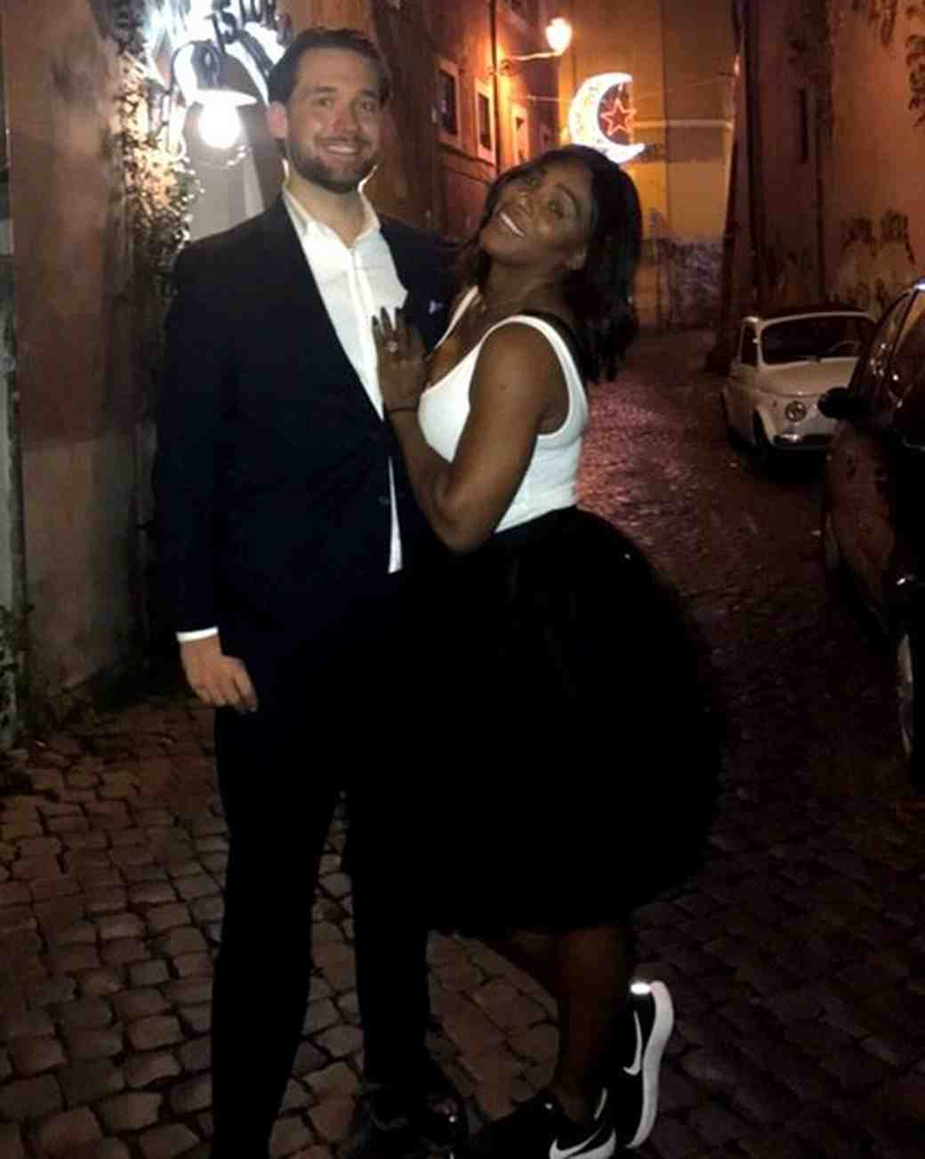 Serena Williams Posing with Engagement Ring and Fiance Alexis Ohanian