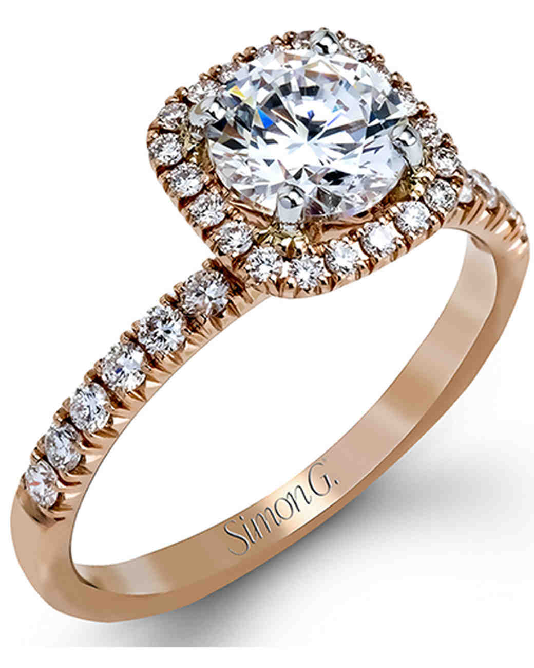 Simon G. Rose Gold Engagement Ring Featuring Round White Diamonds