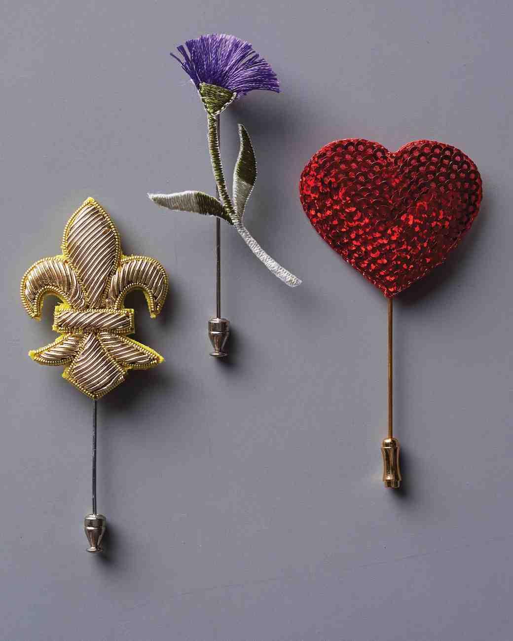 applique boutonnieres fleur de lis flower heart