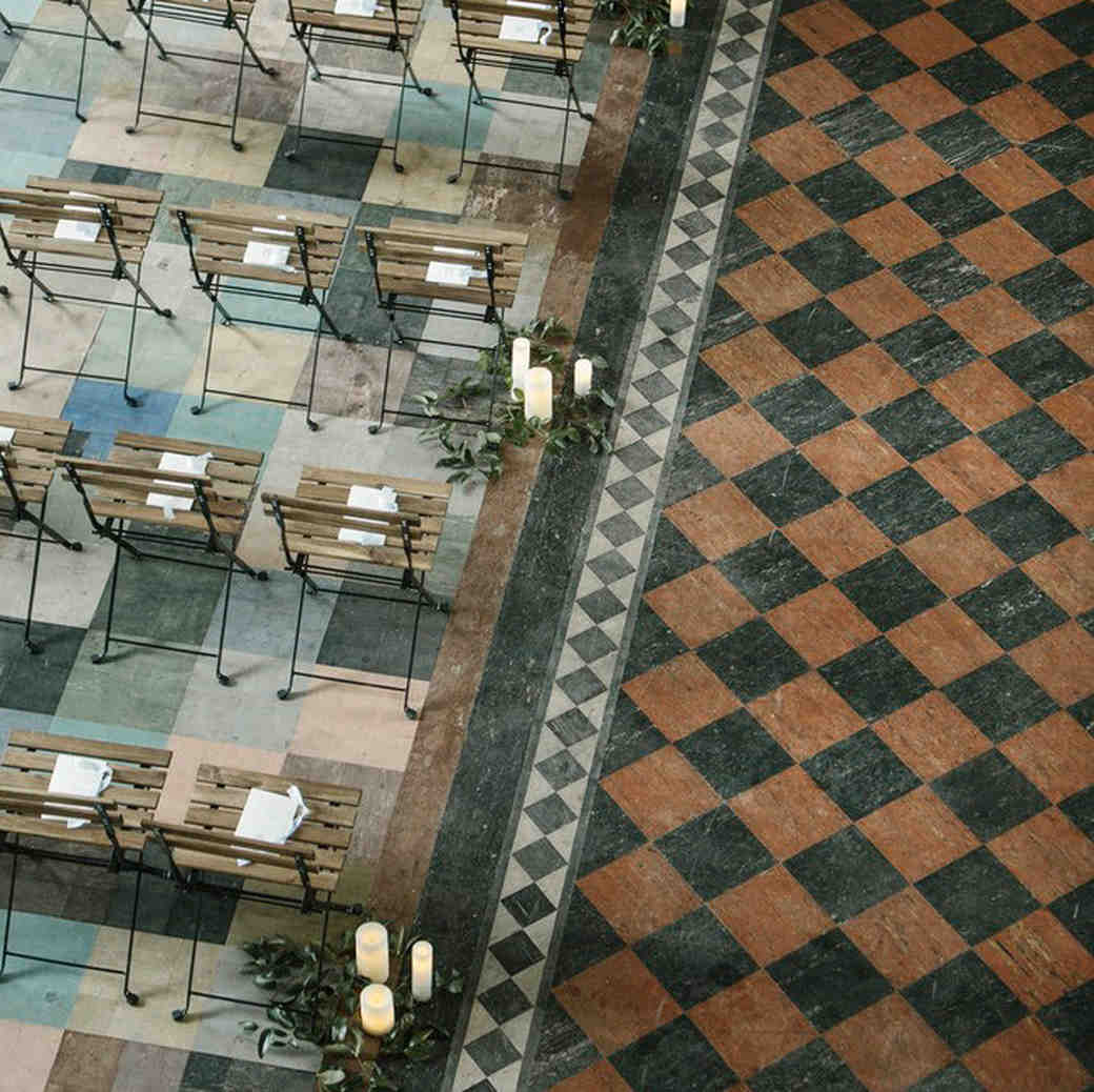 wedding chairs checkered flooring