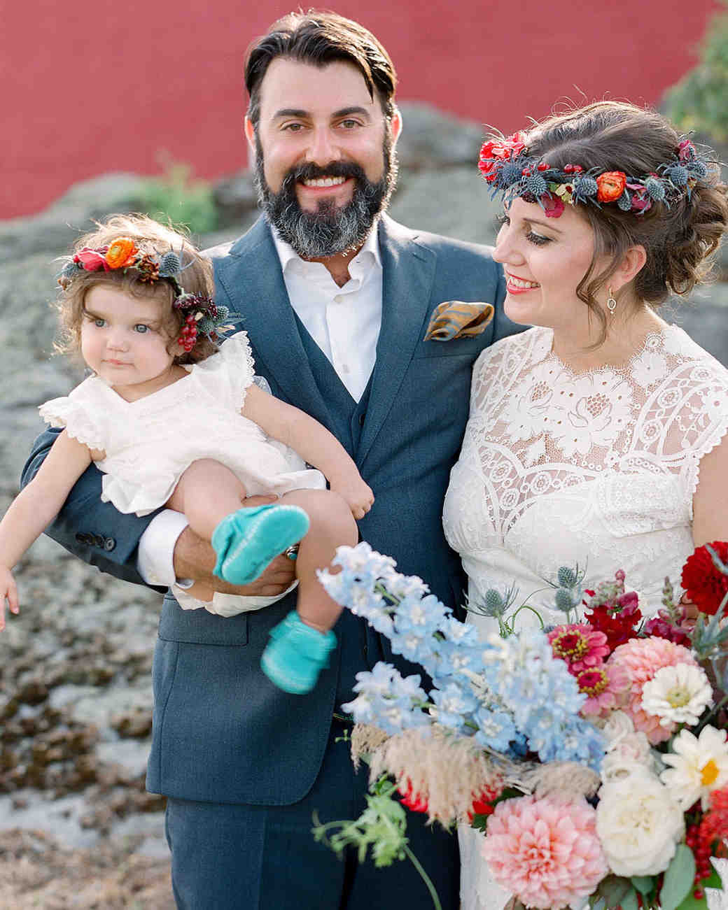 Colorful Flower Crowns on the Bride and Daughter