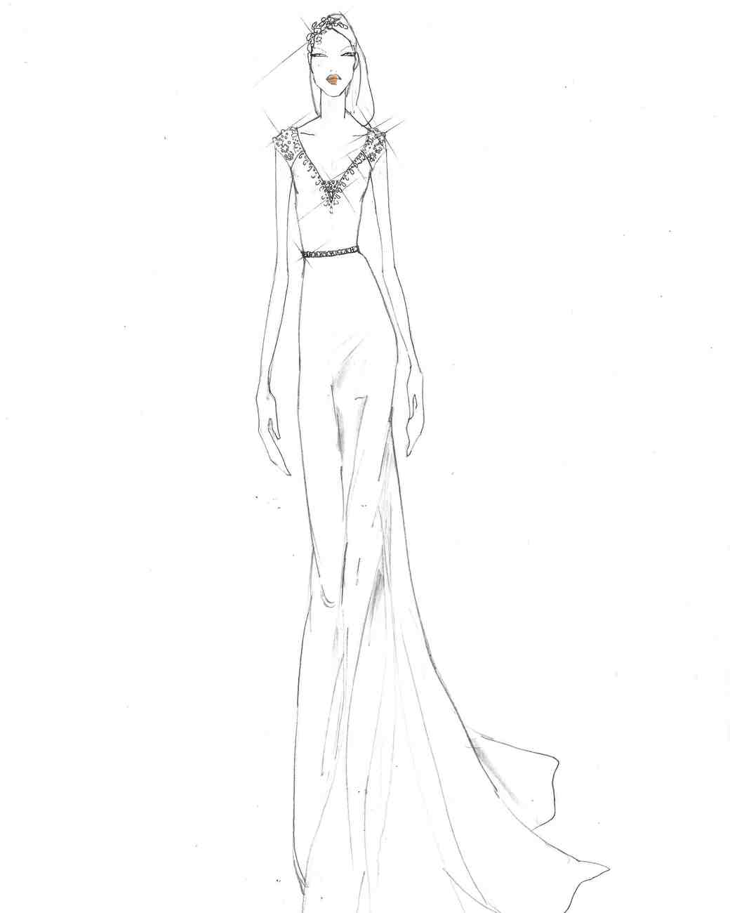 Jenny Packham Fall 2017 Exclusive Wedding Dress Sketch