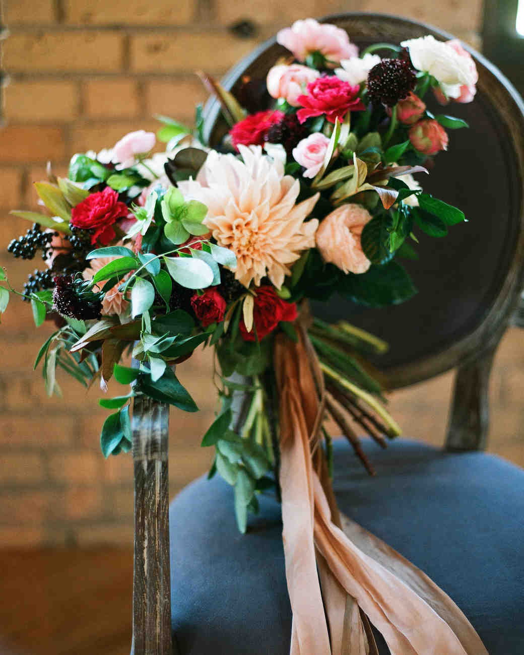 Fall Wedding Bouquet with Long Silk Ribbon