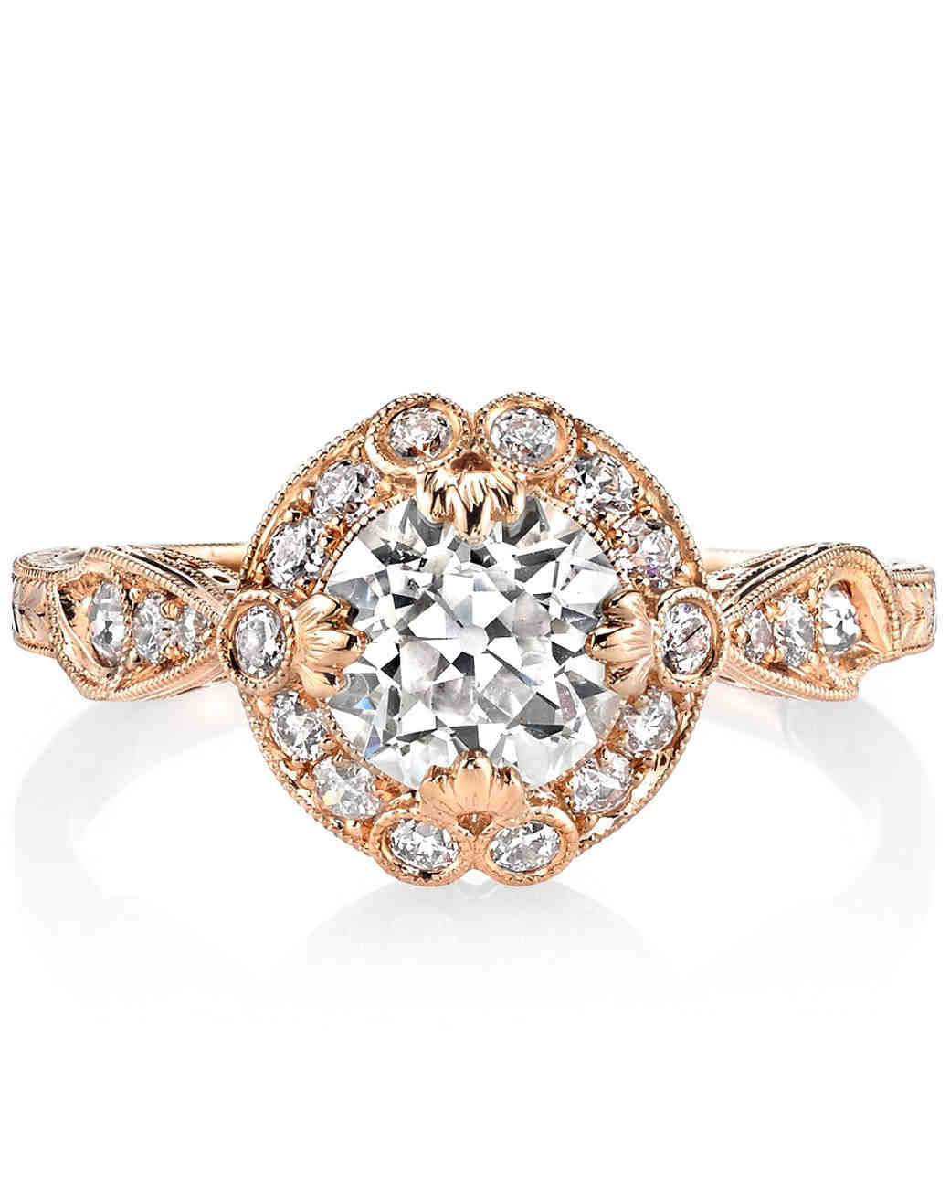 "Single Stone ""Celeste"" old European cut diamond set in rose gold"