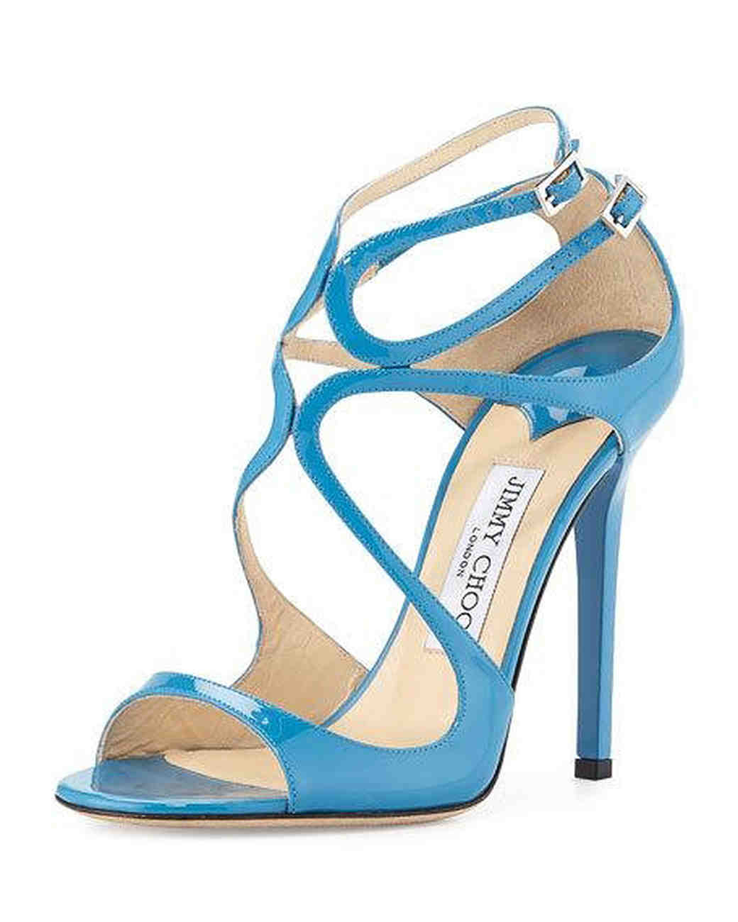 Jimmy Choo Patent Leather Strappy Sandals in Robot Blue