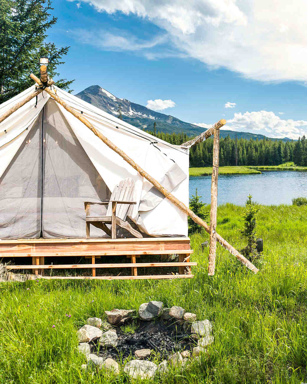 tent fireplace mountain pond yellowstone