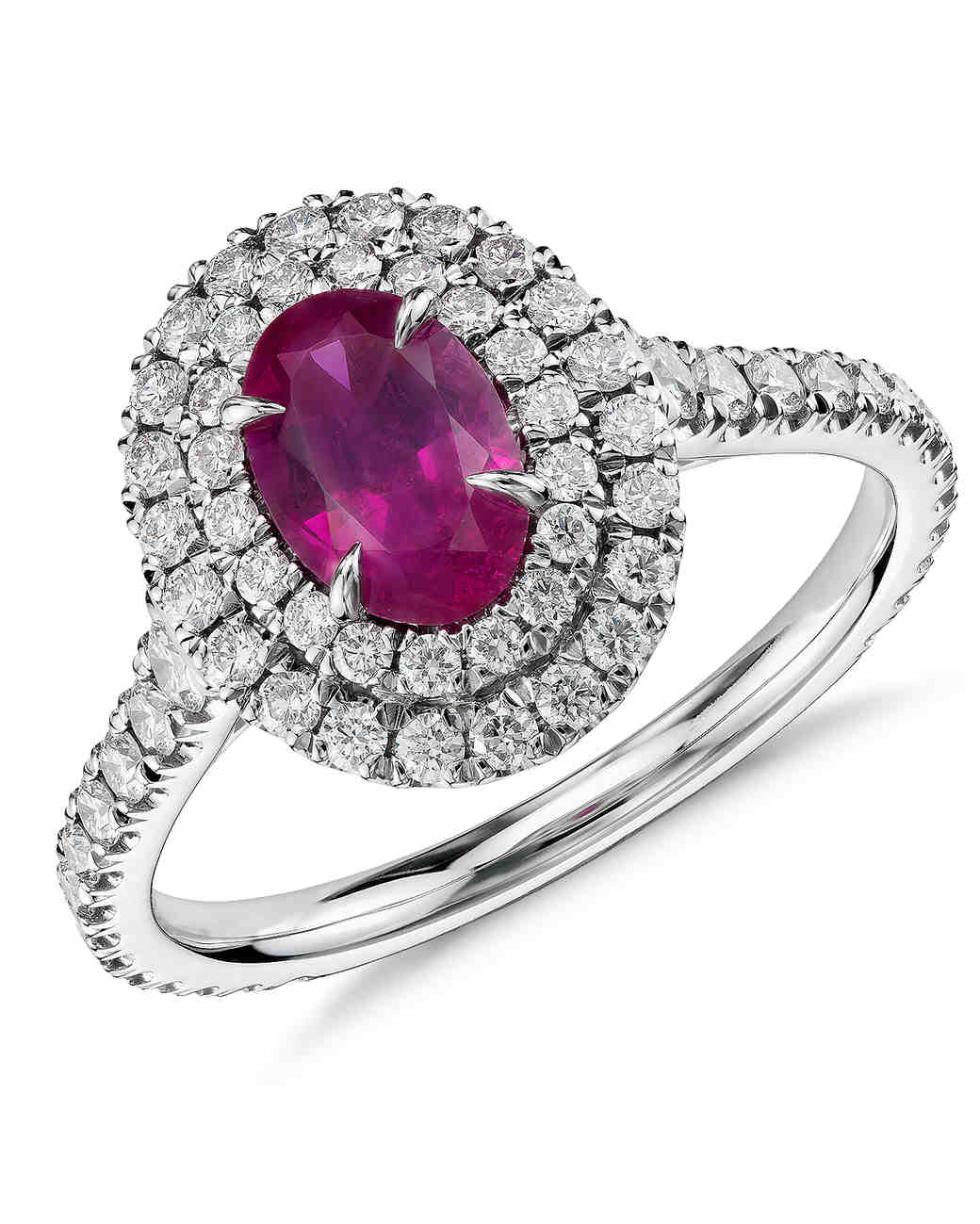 Blue Nile Double Diamond Halo Ruby Engagement Ring