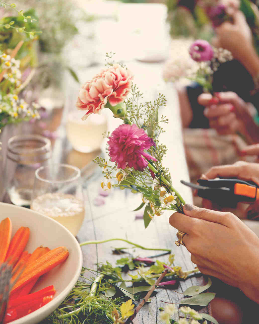 bridal shower flower arranging