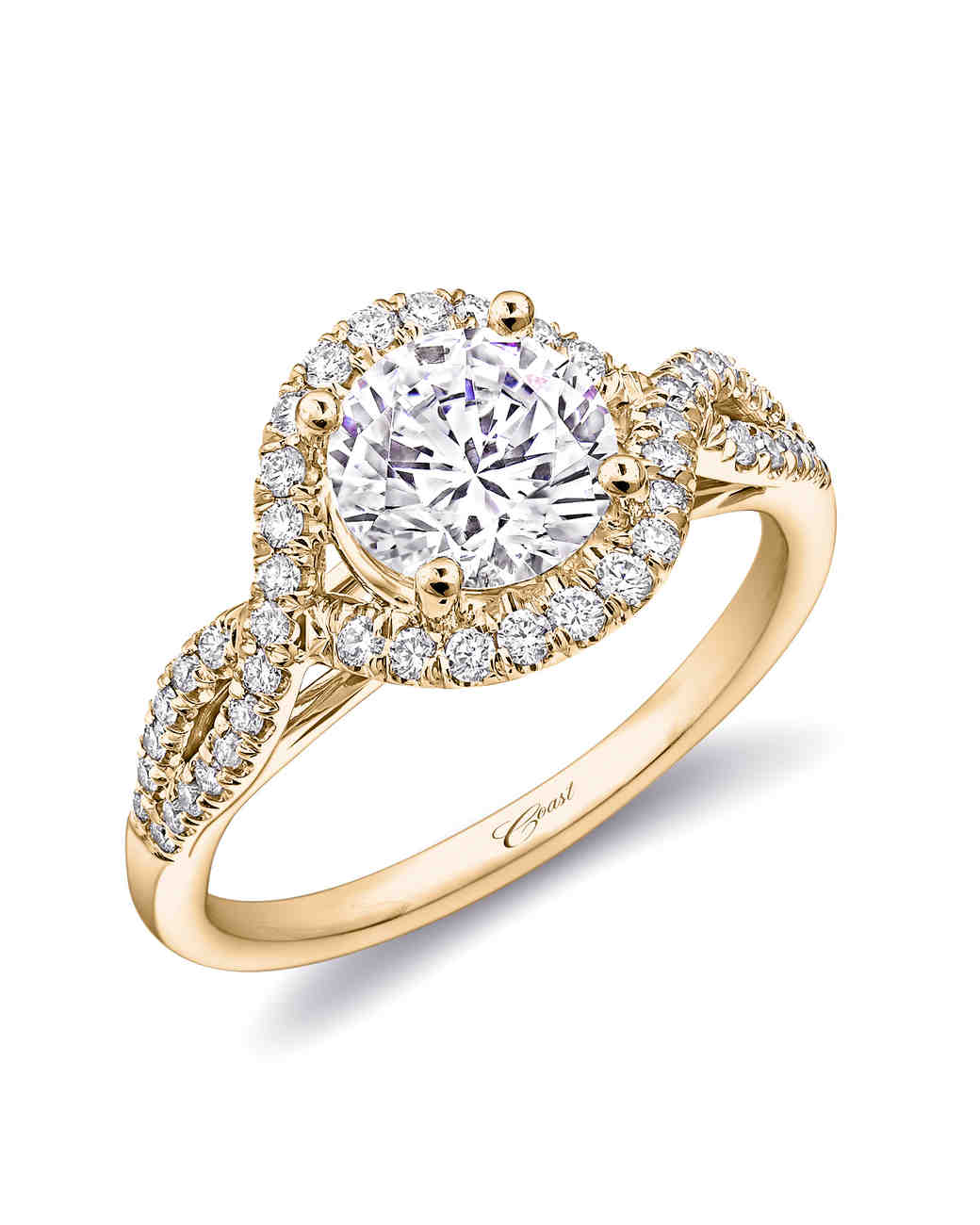 Coast Diamond Yellow Gold Band Engagement Ring with Fishtail Setting