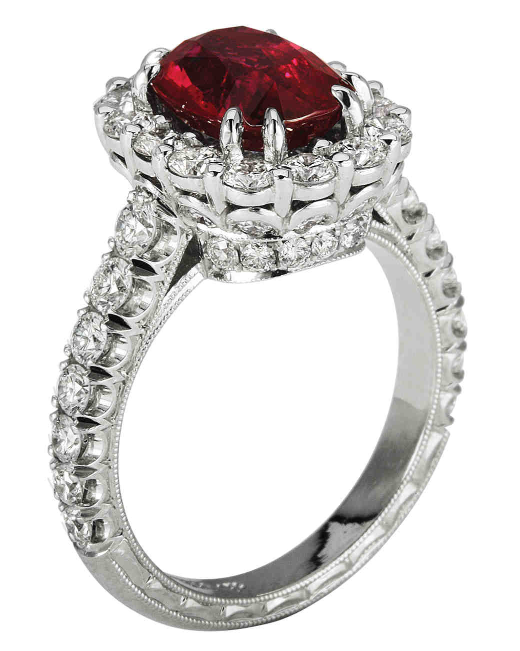 Jack Kelége platinum Ruby Engagement Ring with Halo on Platinum Setting