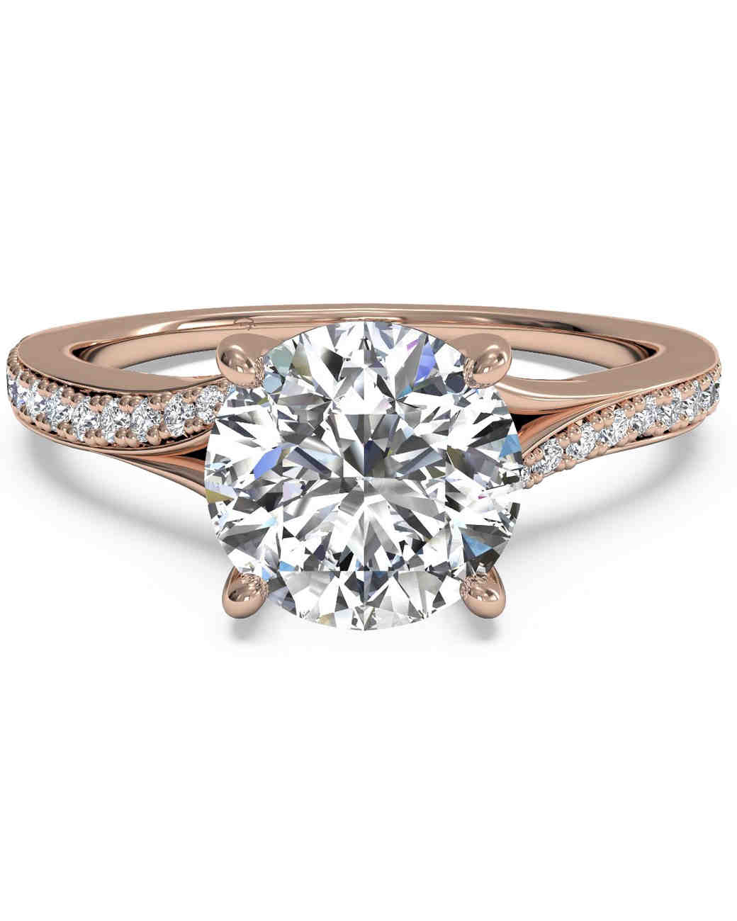 Ritani Modern Bypass Micropavé Rose Gold Engagement Ring
