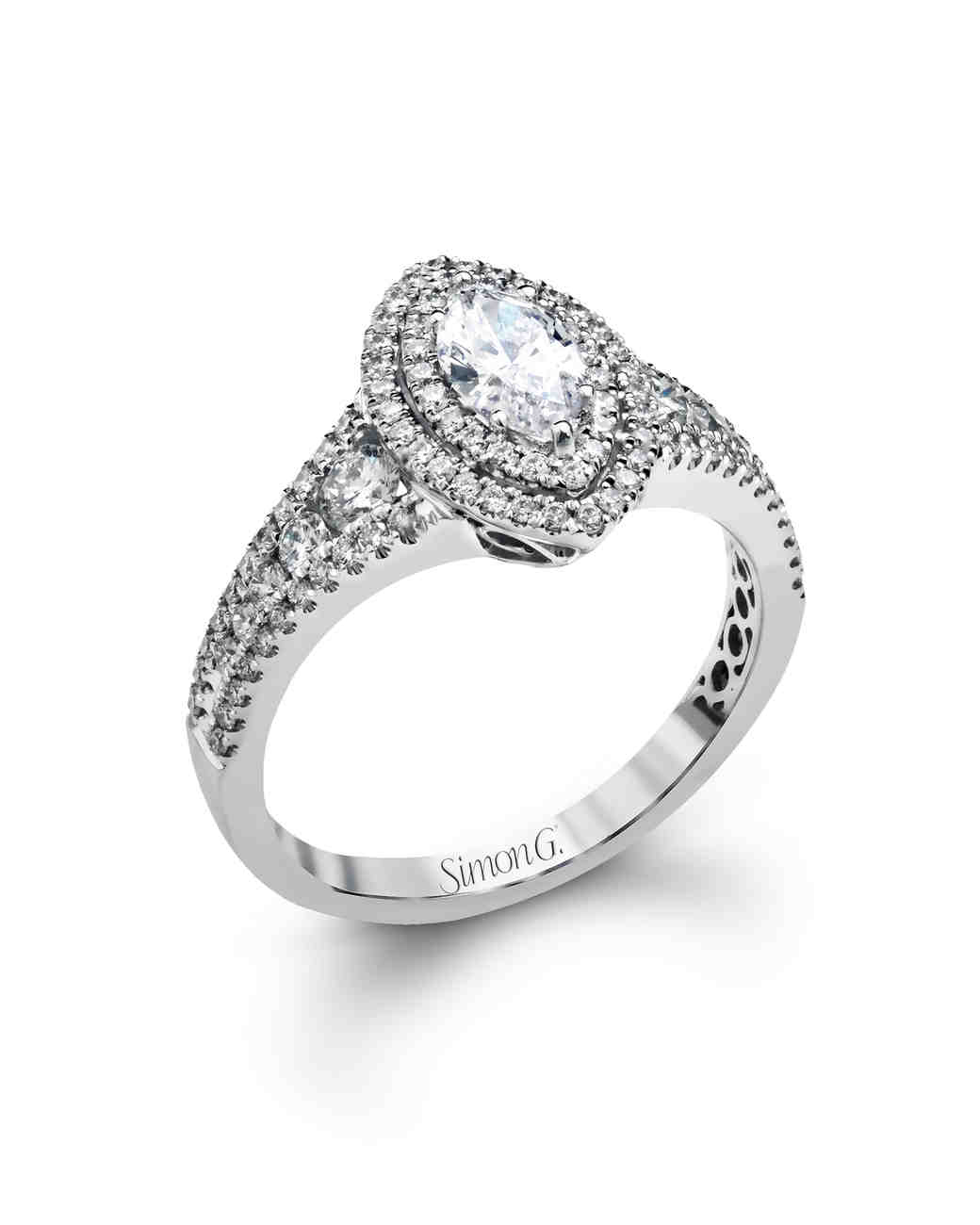 Simon G. Marquise-Cut White Gold Engagement Ring
