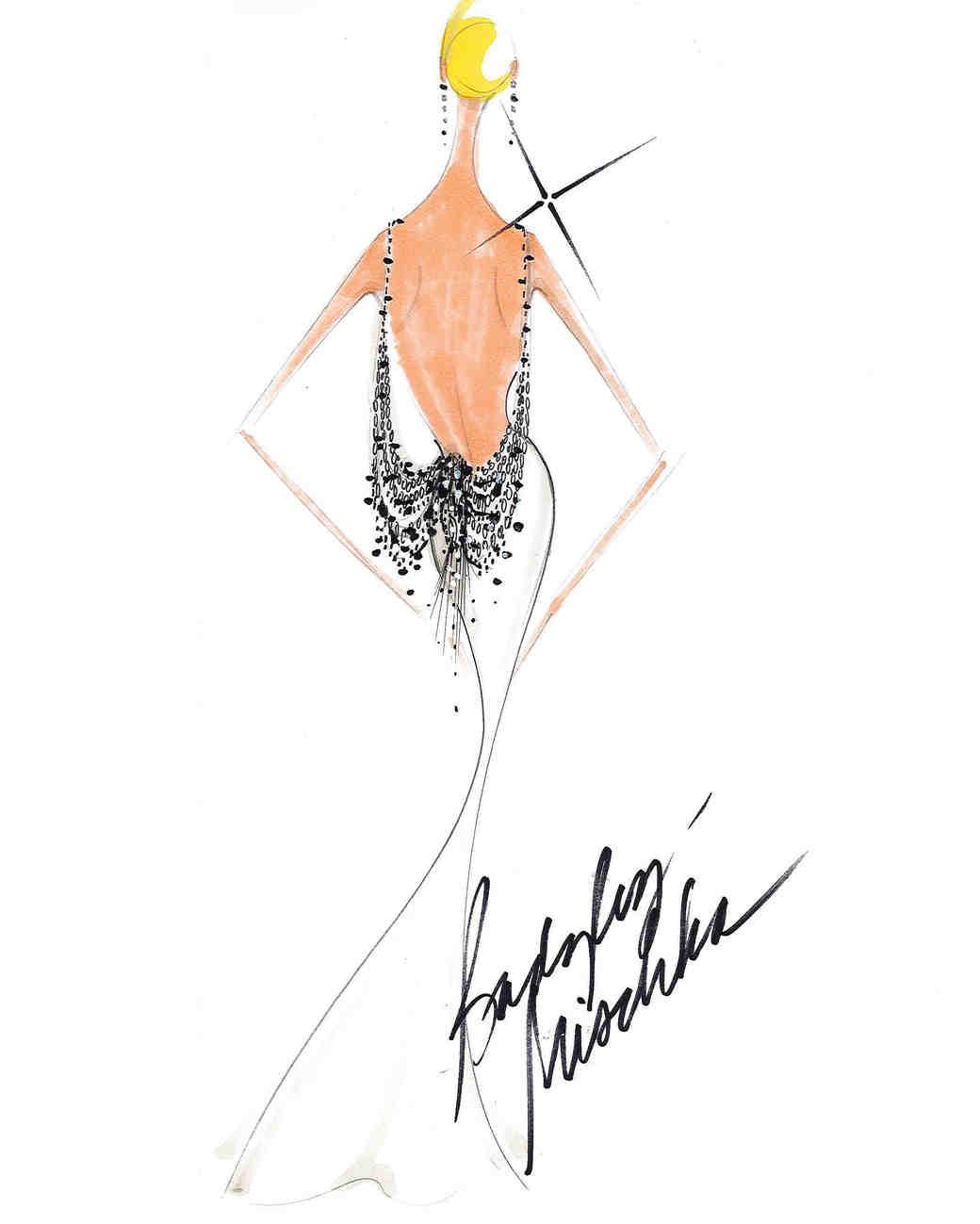 badgley mischka fall 2017 exclusive wedding dress sketch
