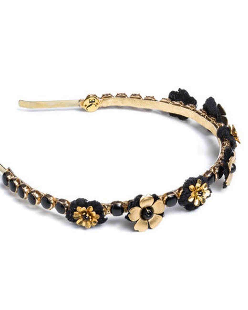 Eugenia Kim black and gold floral headband
