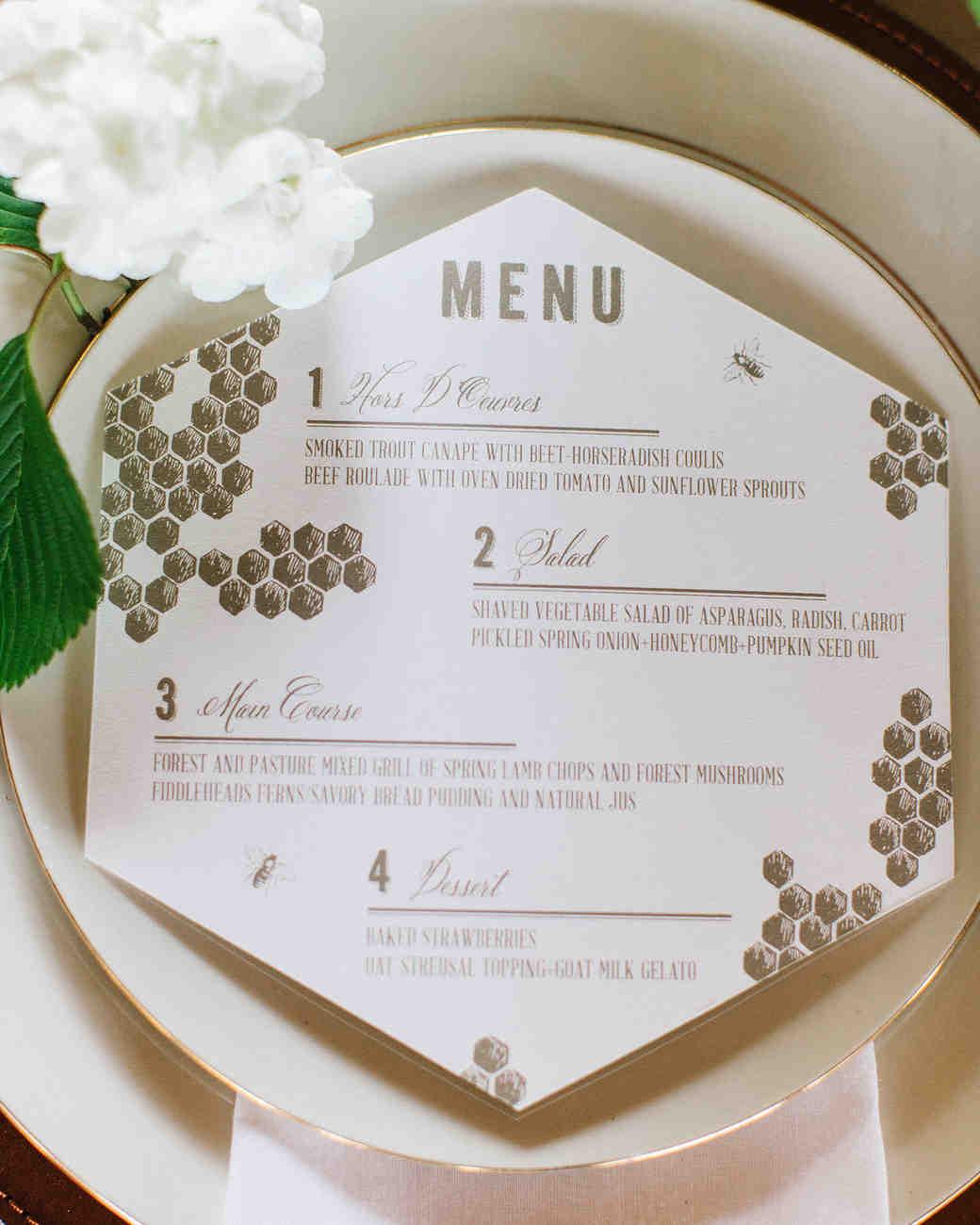 Honeycomb Wedding Inspiration, Menu Card with Honeycomb Pattern