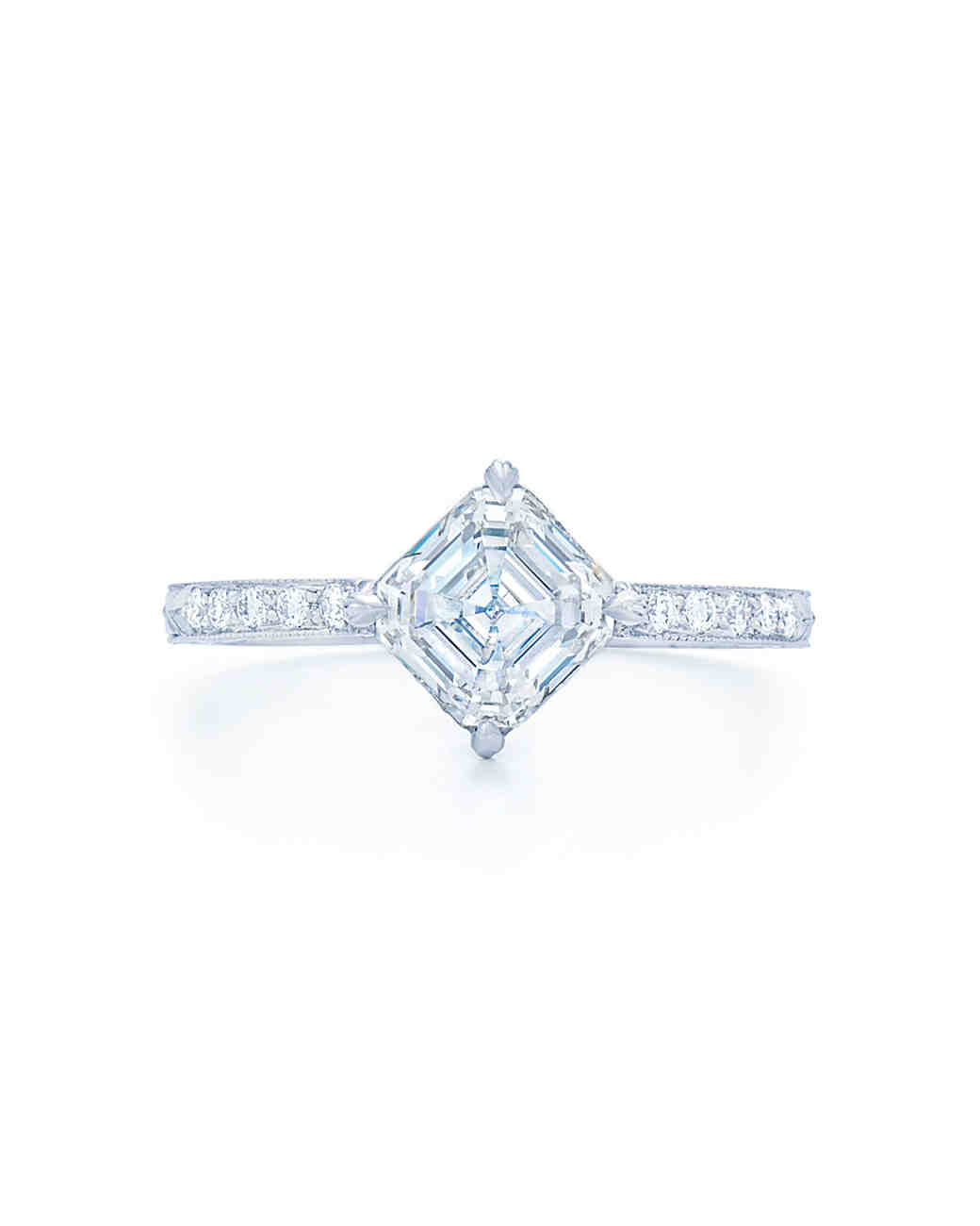 Kwiat Asscher-Cut Sideways Diamond Engagement Ring with Diamond Band