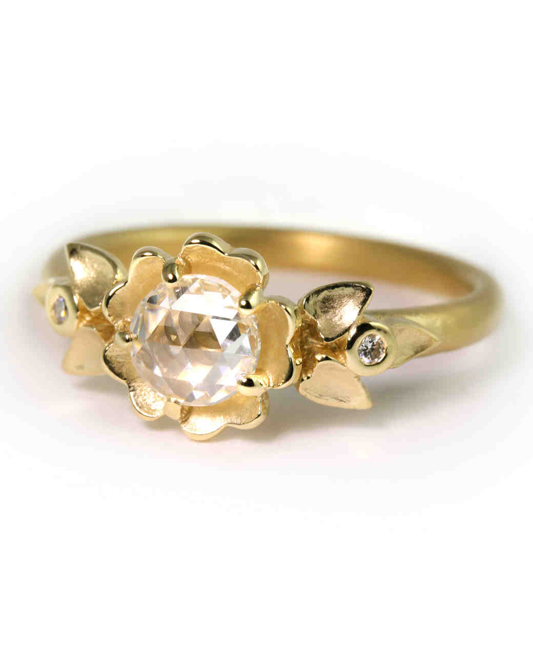 megan thorne yellow gold engagement ring with rose cut diamond - Wedding Rings Yellow Gold