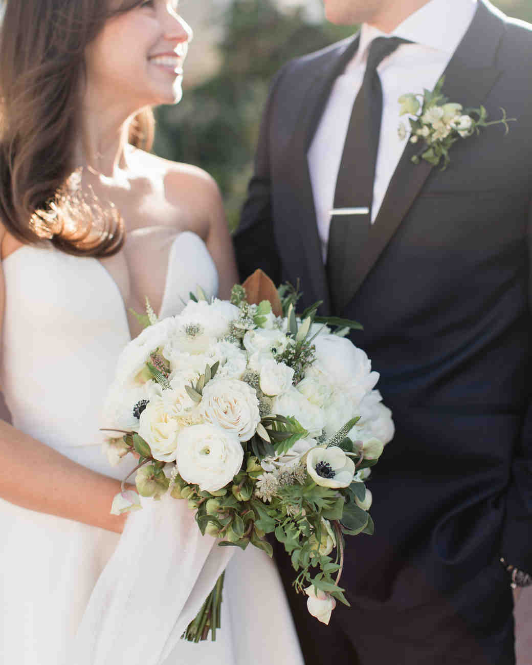 All-White Bouquet with Ranunculus, Anemones and Greenery