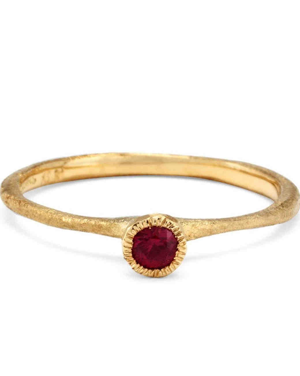 Satomi Kawakita Solitaire Ruby Engagement Ring with matte finish
