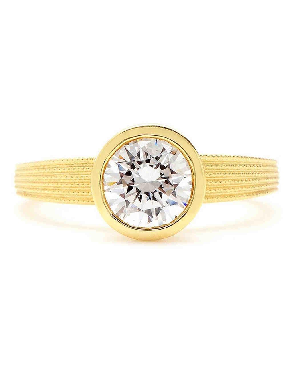 Sholdt Bezel-Set Engagement Ring Setting with Fern Finish Band