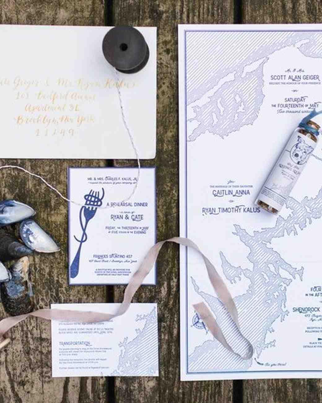 navy coastal wedding invitation