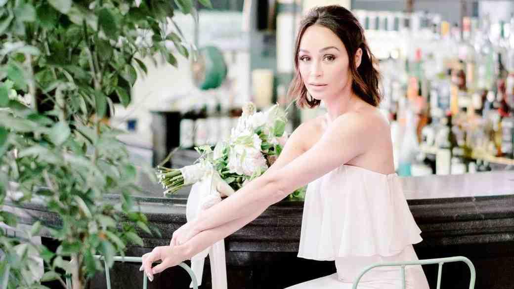 "Cara Santana wearing Vow To Be Chic's Monique Lhuillier Bridesmaids ""Cara"" dress"