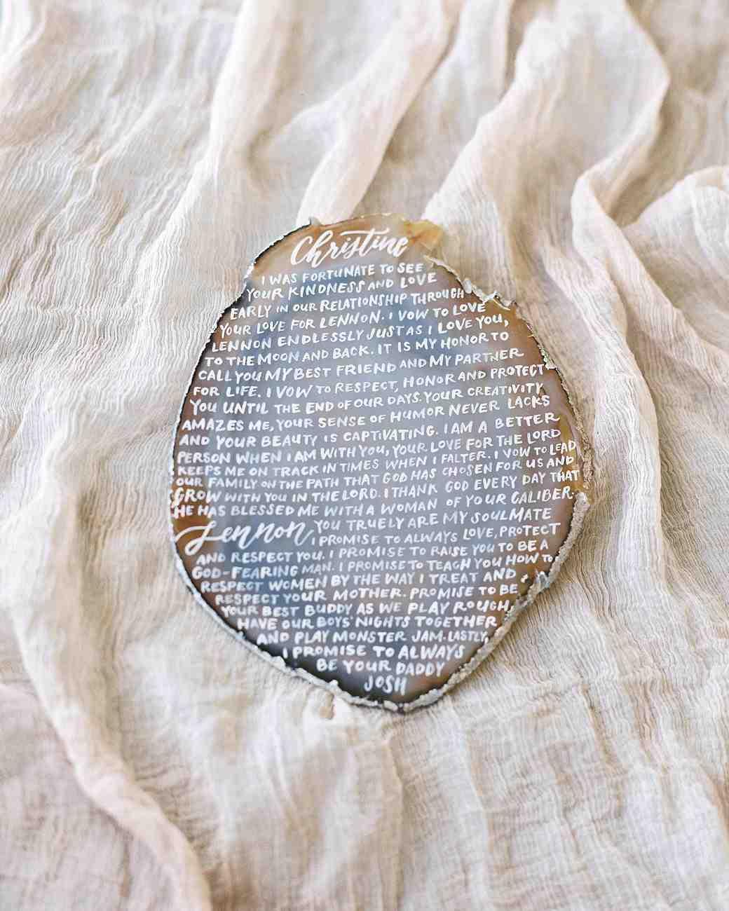Wedding Vows Written on Agate