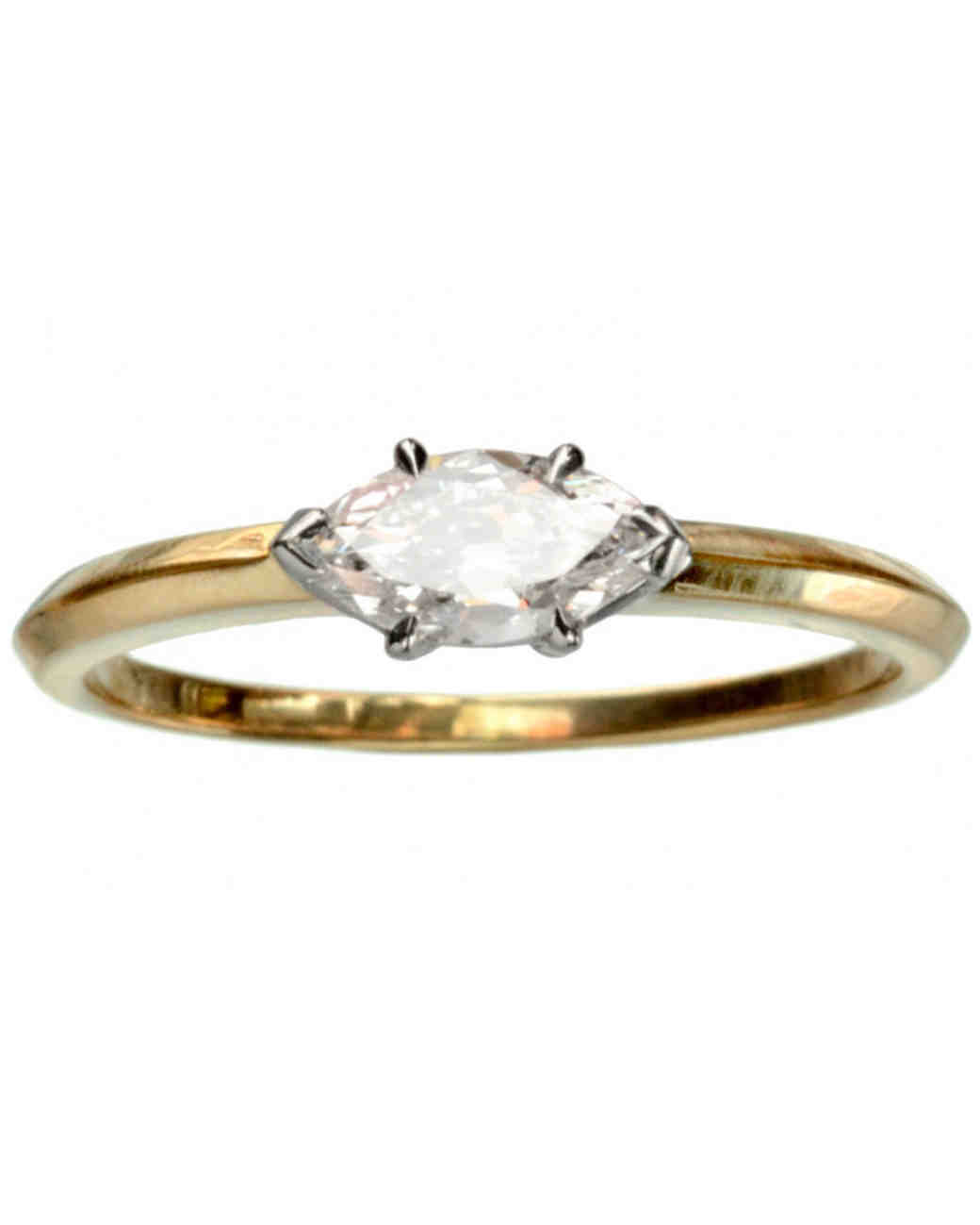 Erie Basin Marquis-Cut East-West Engagement Ring with Gold Band
