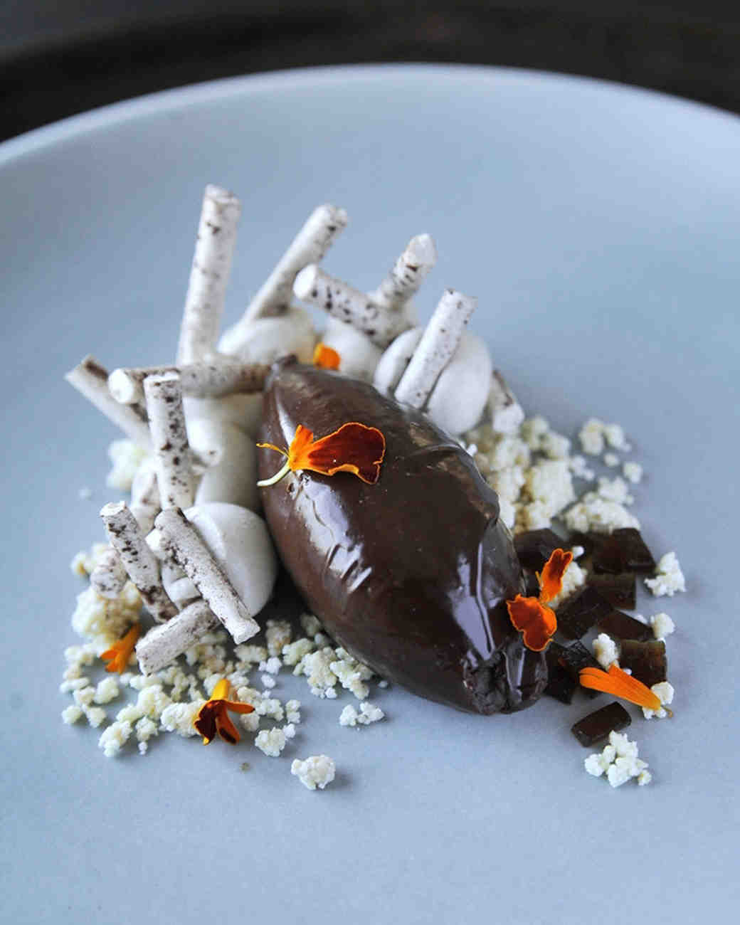winter dessert chocolate cremeux cardamom coffee meringue