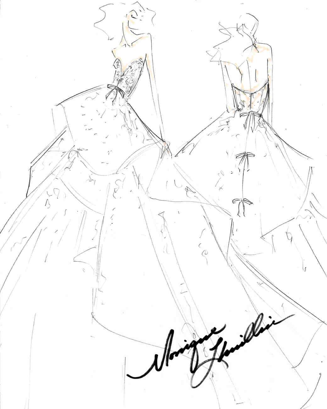 monique lhuillier fall 2017 exclusive wedding dress sketch