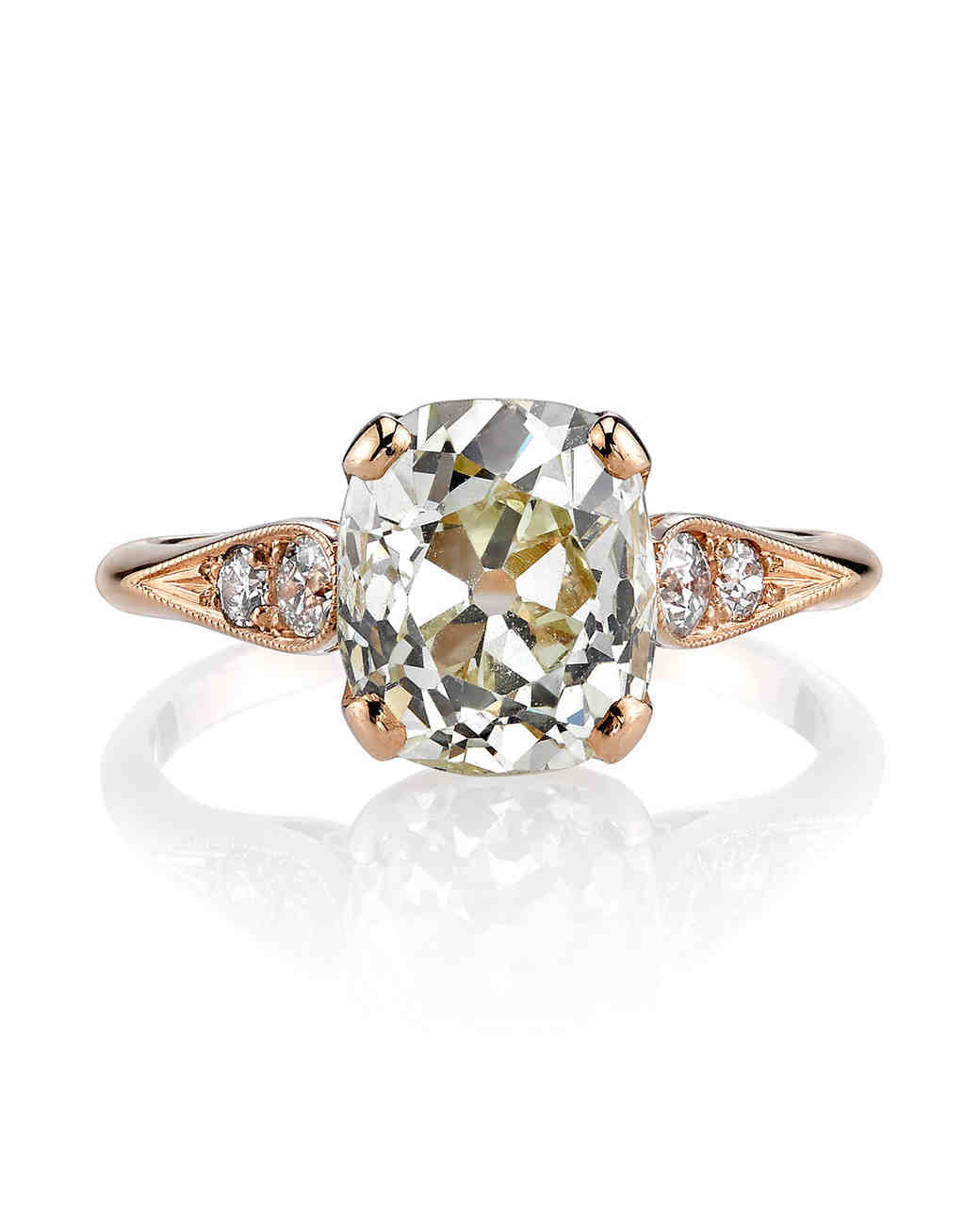 Single Stone Vintage Cushion-Cut Diamond Engagement Ring in Rose Gold