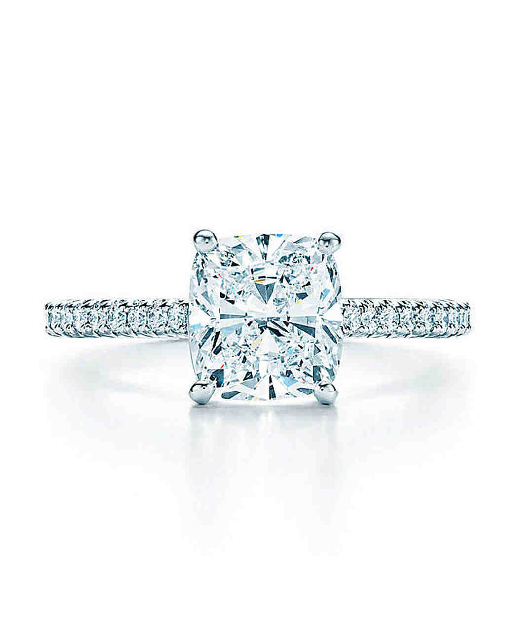 Tiffany & Co Cushioncut Diamond Engagement Ring With Pave Band