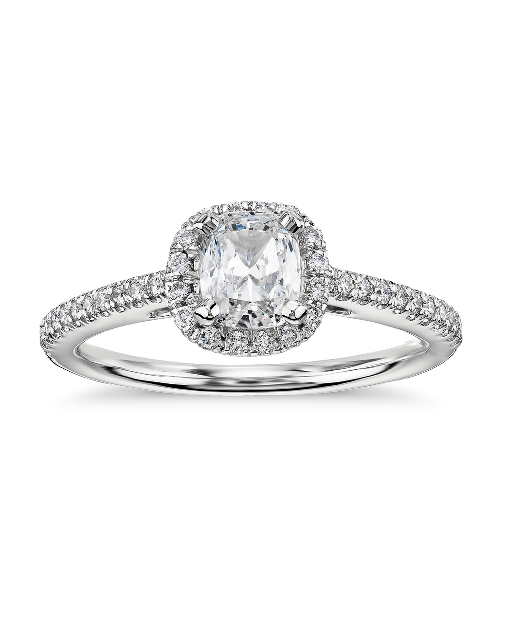 Blue Nile Cushion Cut Diamond Engagement Ring in Platinum