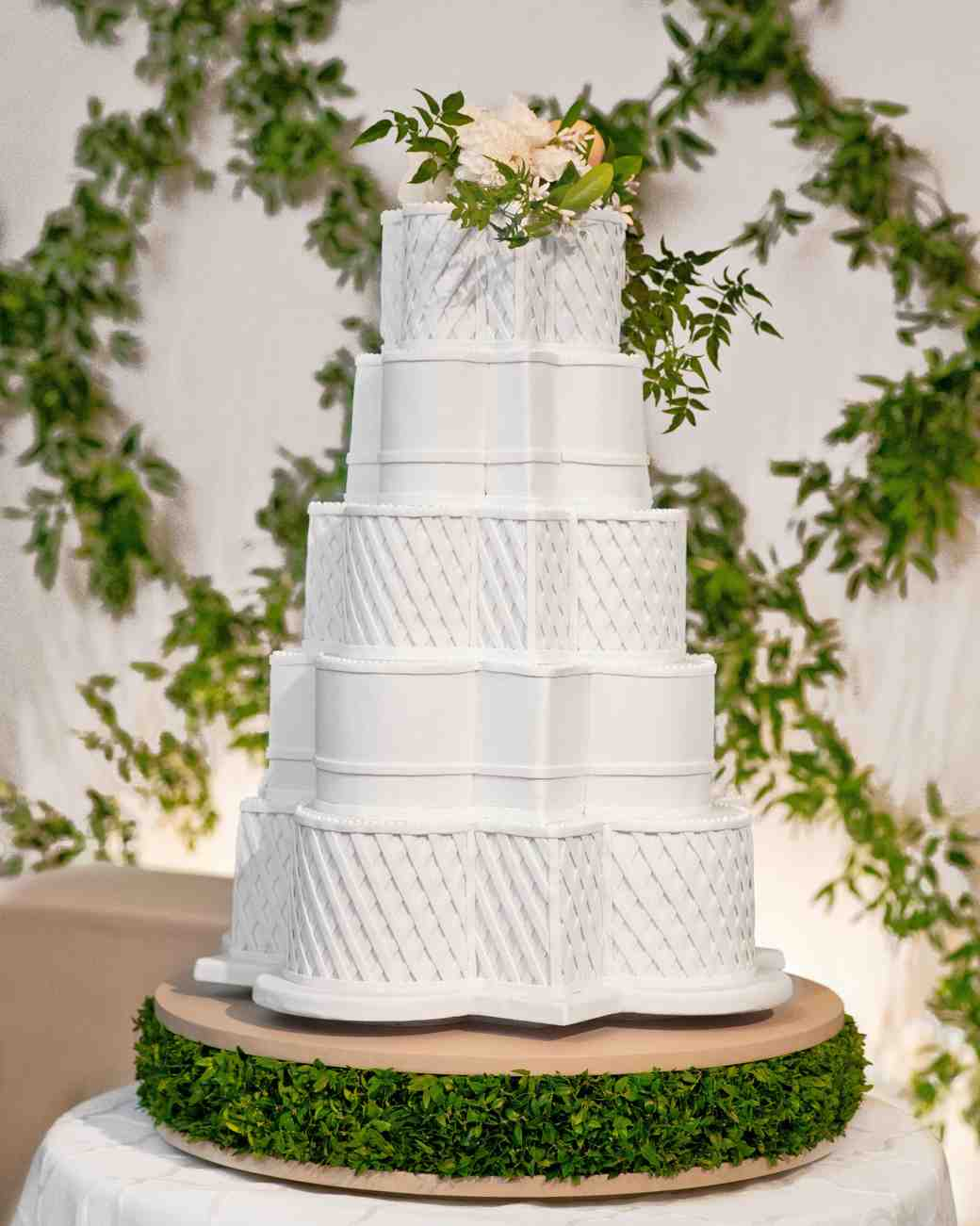 White Wedding Cake with Lattice Fondant and Floral Cake Topper