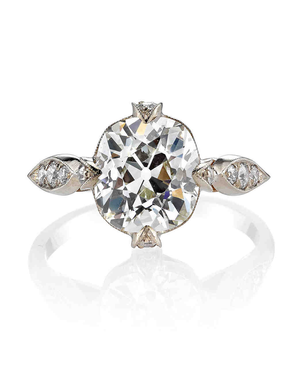Single Stone Vintage Cushion-Cut Diamond Engagement Ring